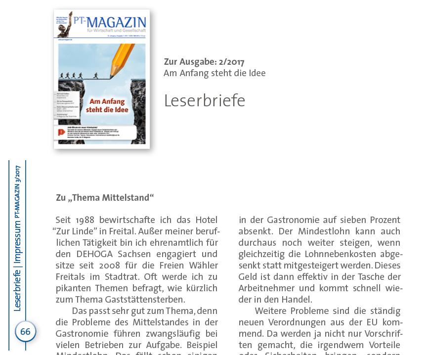 der leserbrief von herrn gruneberg nimmt bezug auf den leserbrief der ausgabe 32017 des pt magazins c ops netzwerk gmbh - Leserbriefe Beispiele